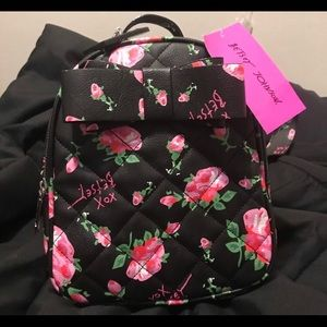 BETSEY JOHNSON MINI BLACK ROSE BACKPACK 🌺 NWT